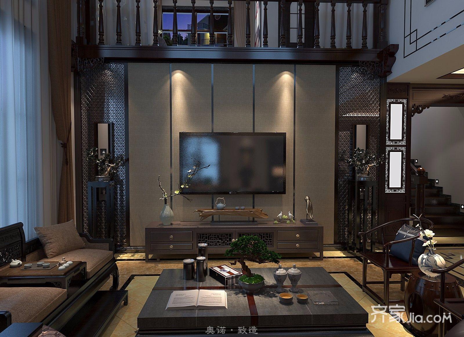古典中式别墅电视背景墙装修效果图
