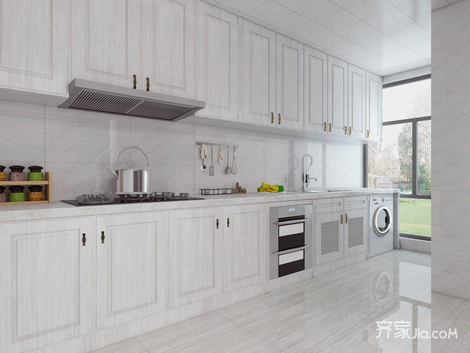 美式田园三居室厨房装修效果图
