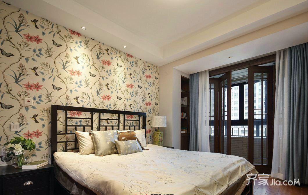 简约中式三居装修卧室搭配图