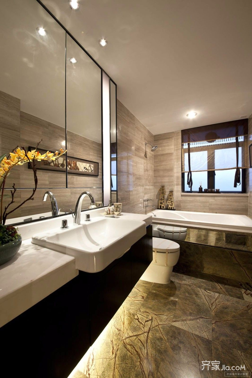 简约中式三居装修卫生间效果图