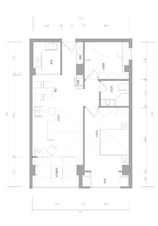 80㎡新中式风格二居装修平面图