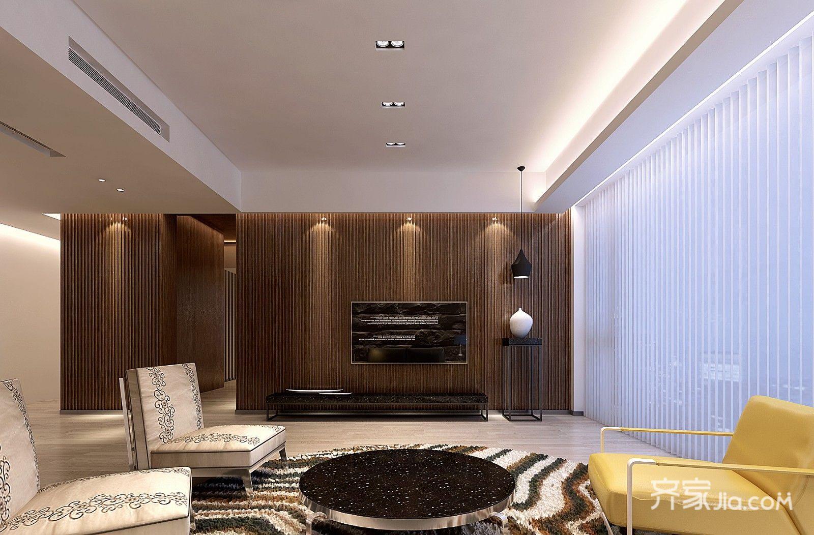 210平米简约四房电视背景墙装修效果图