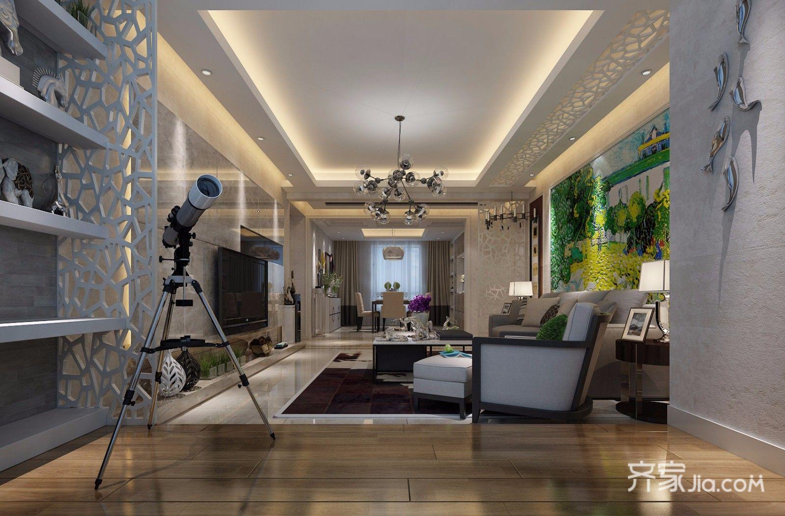 122平米现代风格客厅吊顶装修效果图