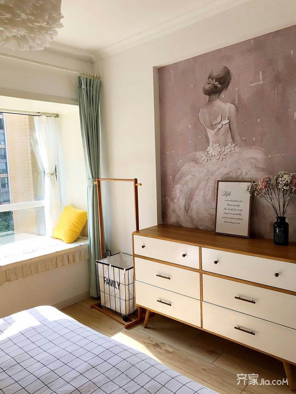 120平三居北欧风格装修飘窗设计图