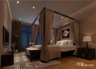 120㎡新中式三居卧室装修效果图