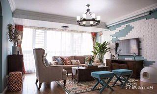 105平美式三居室装修客厅搭配图