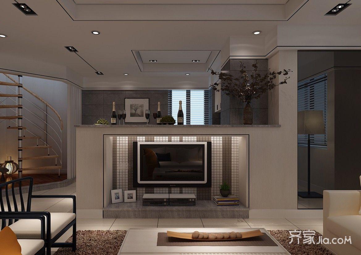 现代风格复式装修电视背景墙效果图