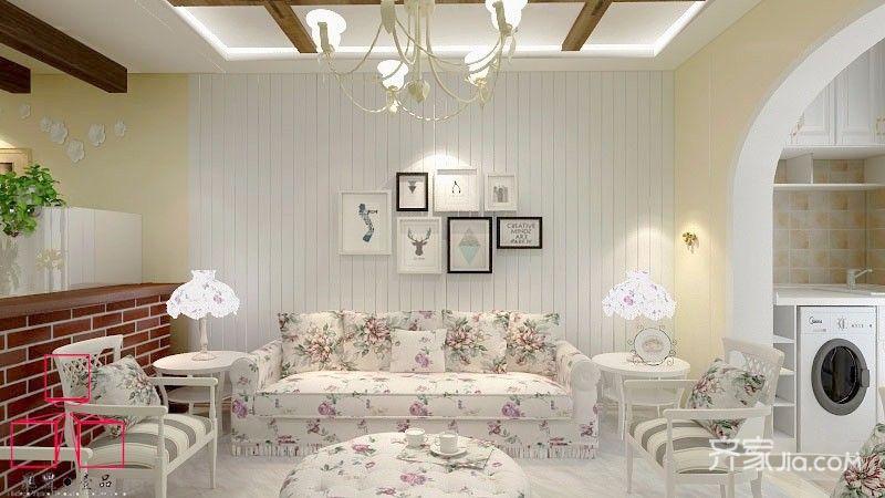 75平田园风格三居沙发背景墙装修效果图