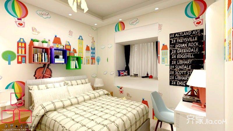 75平田园风格三居儿童房装修效果图