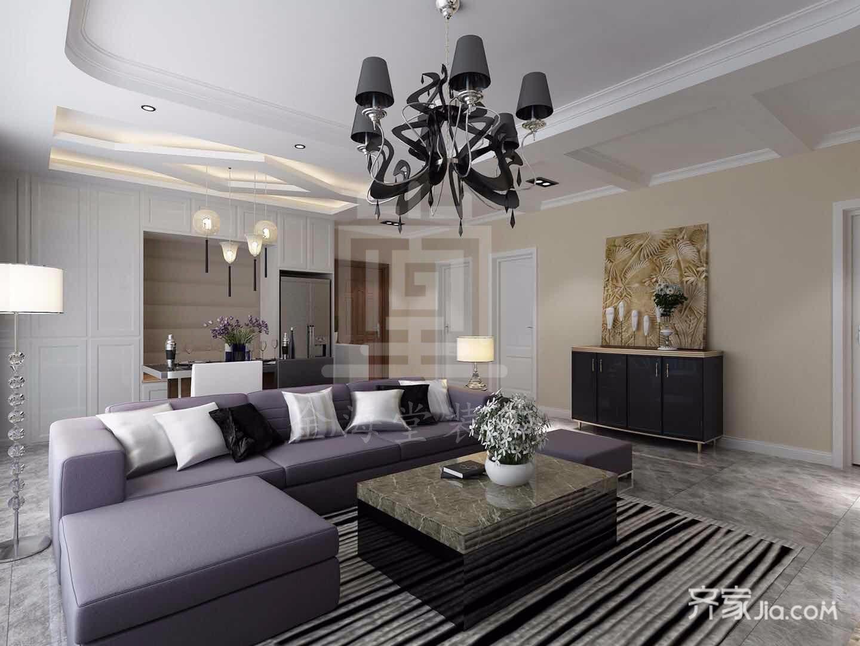 128平米简约风格客厅装修效果图