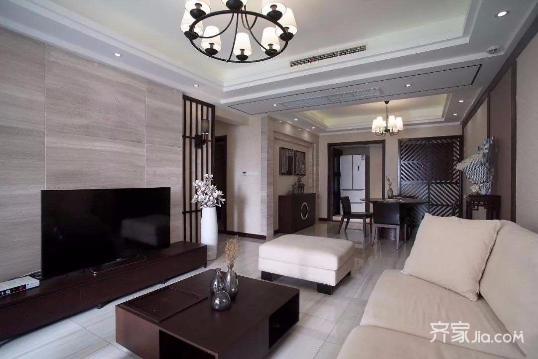 新中式风格三居装修电视背景墙效果图