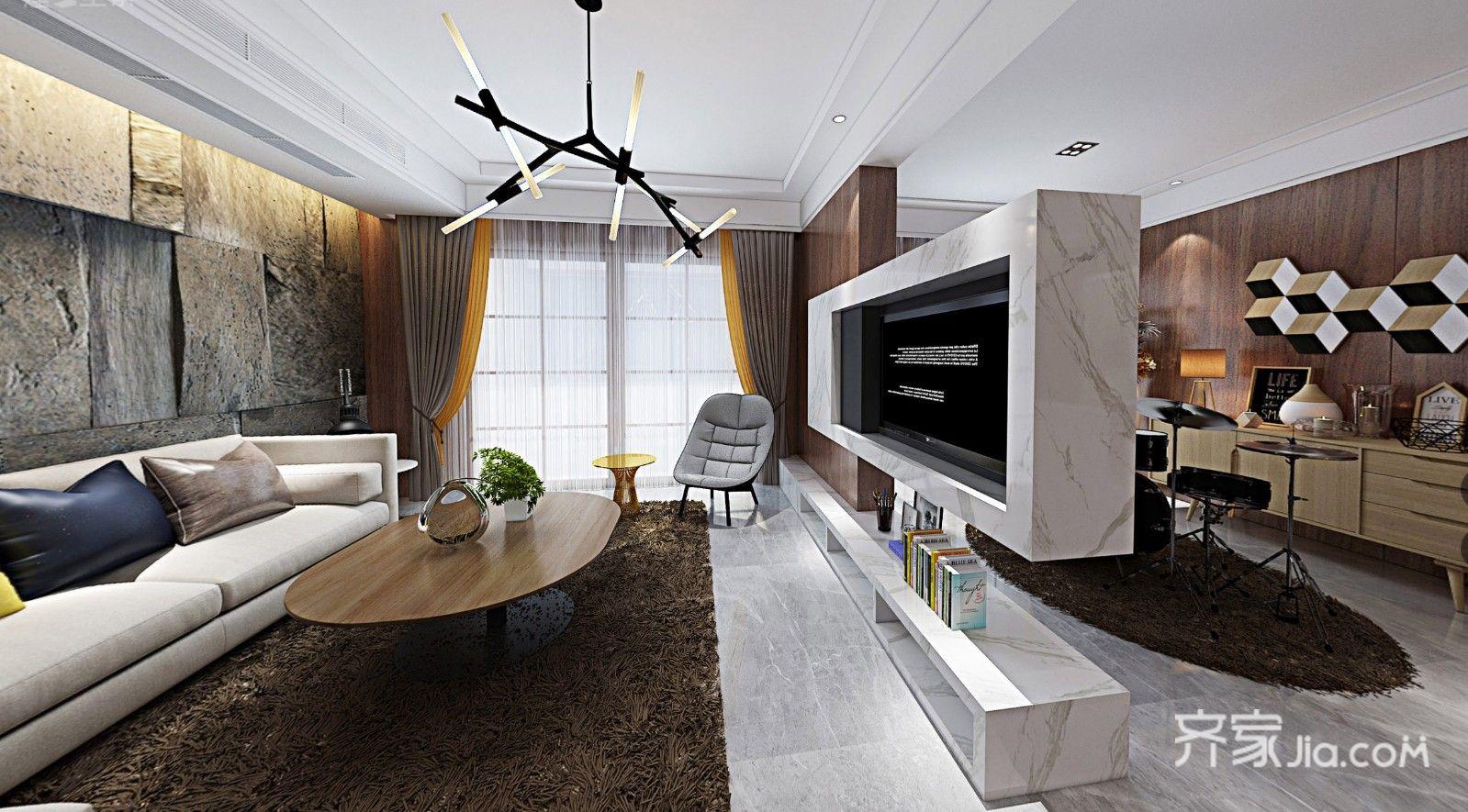 125㎡现代简约风格客厅装修效果图