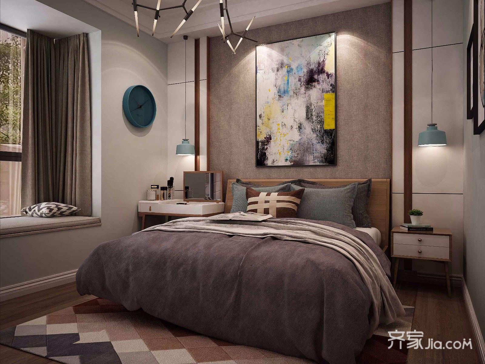 140平米混搭风格卧室背景墙装修效果图