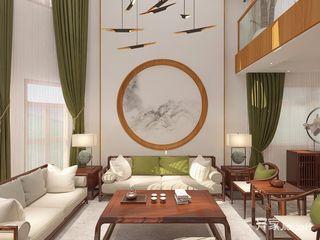 新中式风格复式别墅客厅装修效果图