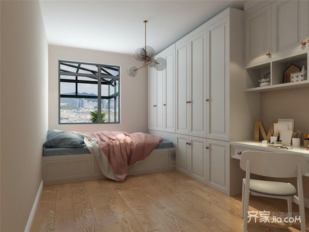 110㎡现代简约三居榻榻米卧室设计图
