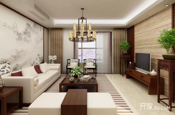 一居室新中式风格客厅装修效果图