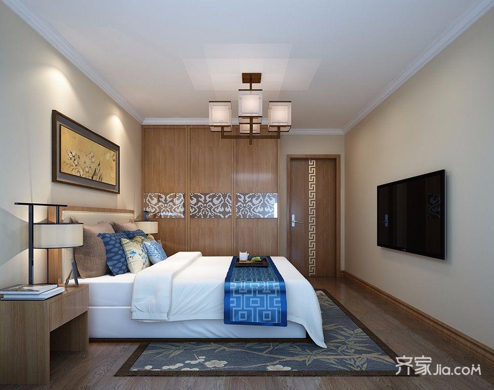 新中式风格二居卧室装修效果图