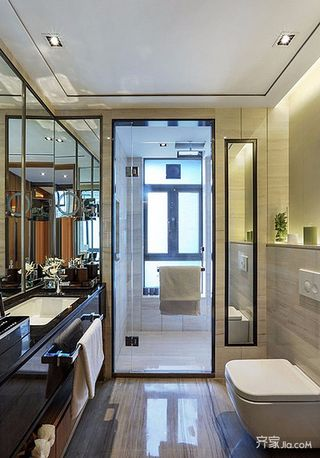 新中式风格二居装修卫生间设计图