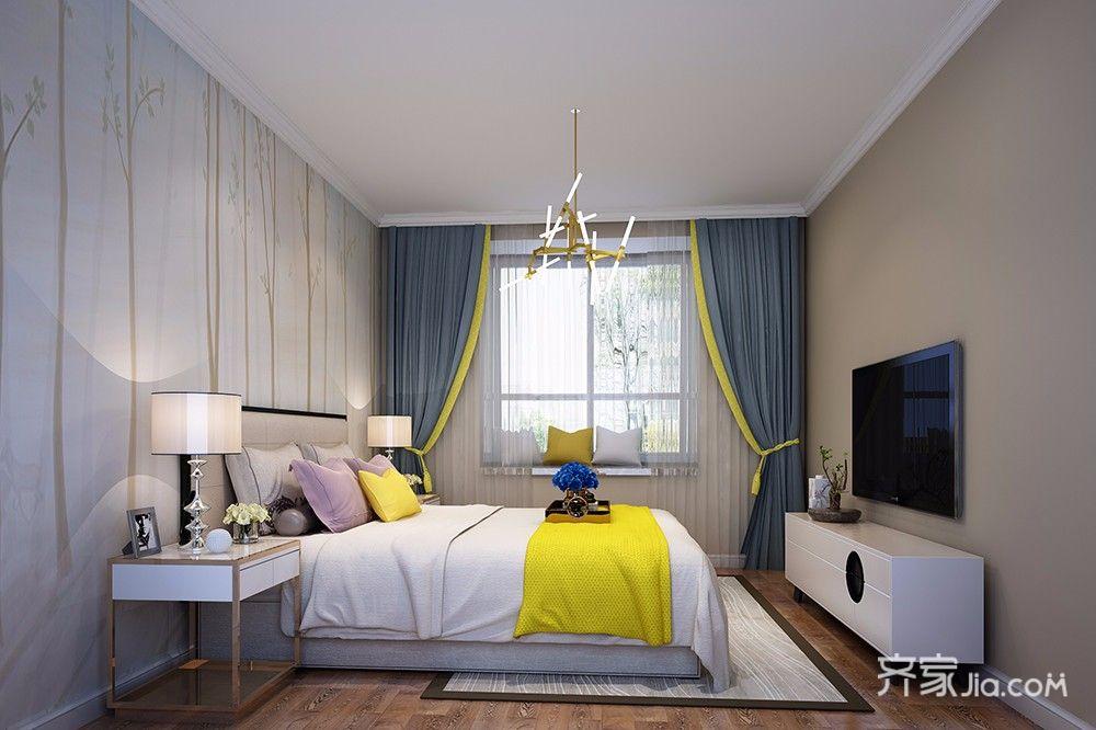 现代风格三居室装修卧室效果图