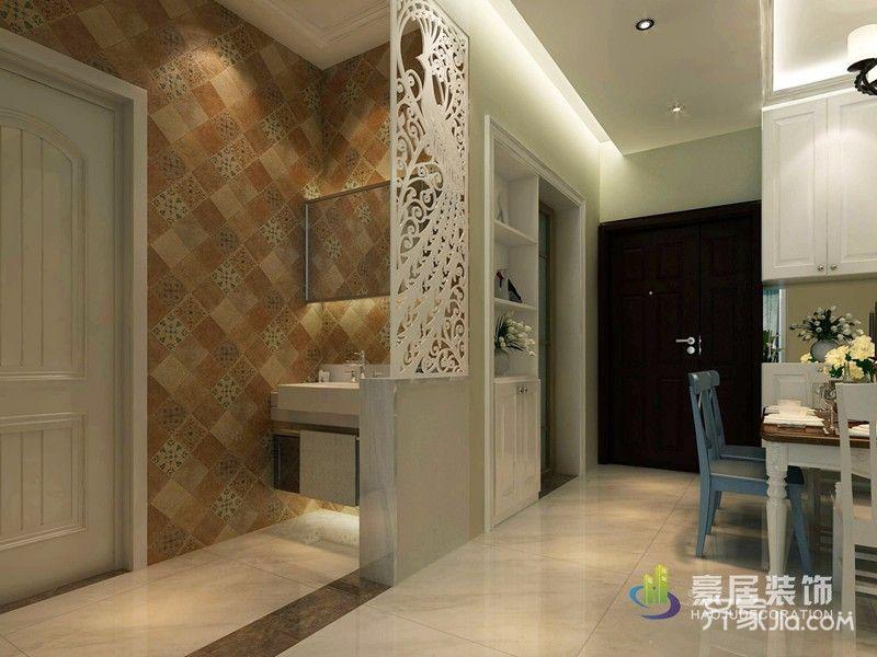 96平混搭风格三居装修洗手台设计图