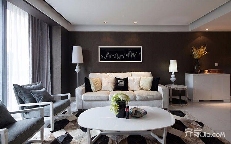 114平米现代风格沙发背景墙装修效果图