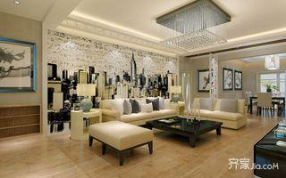 136平简约风格三居沙发背景墙装修效果图