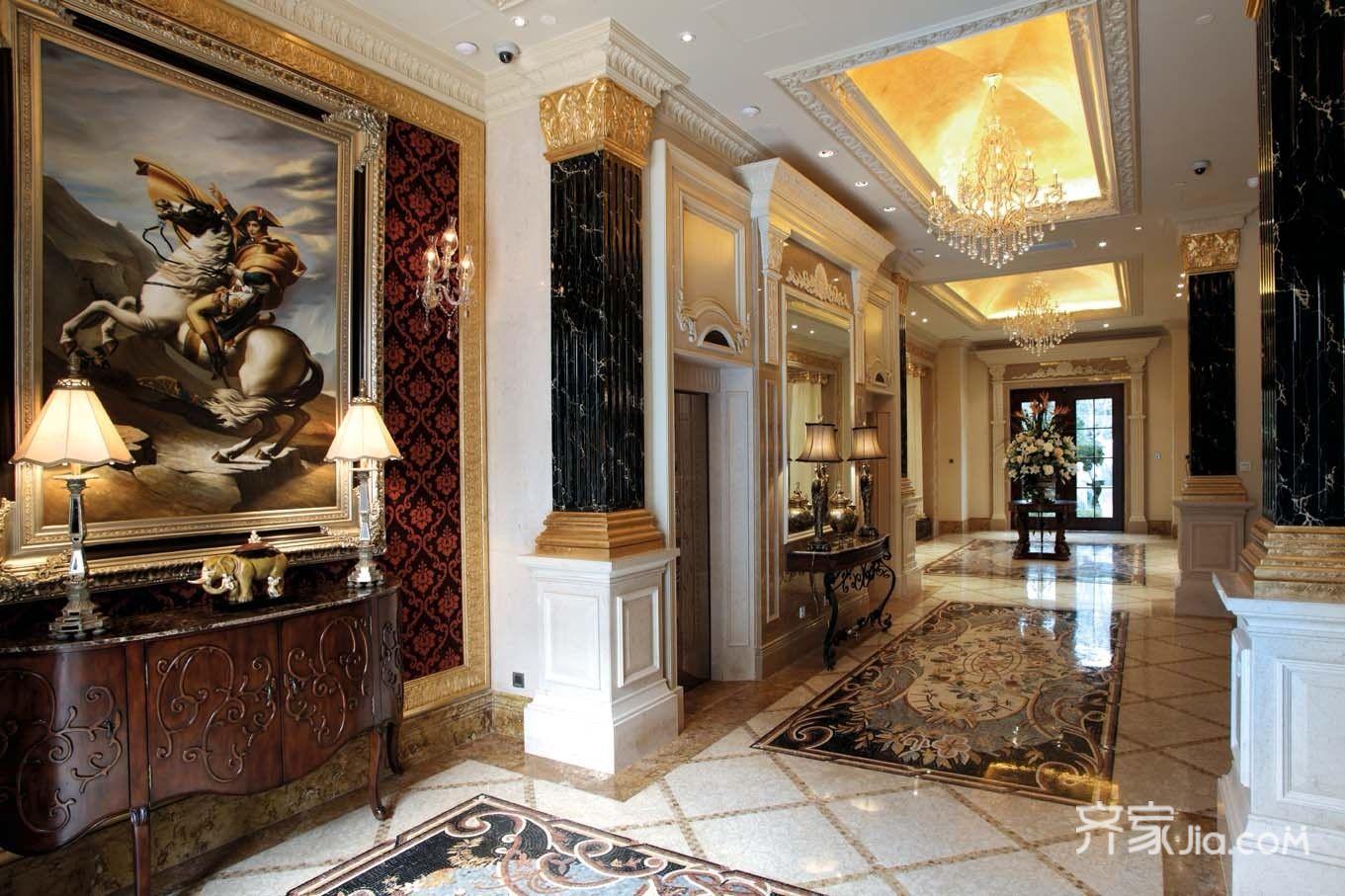 美式豪华别墅装修玄关设计图