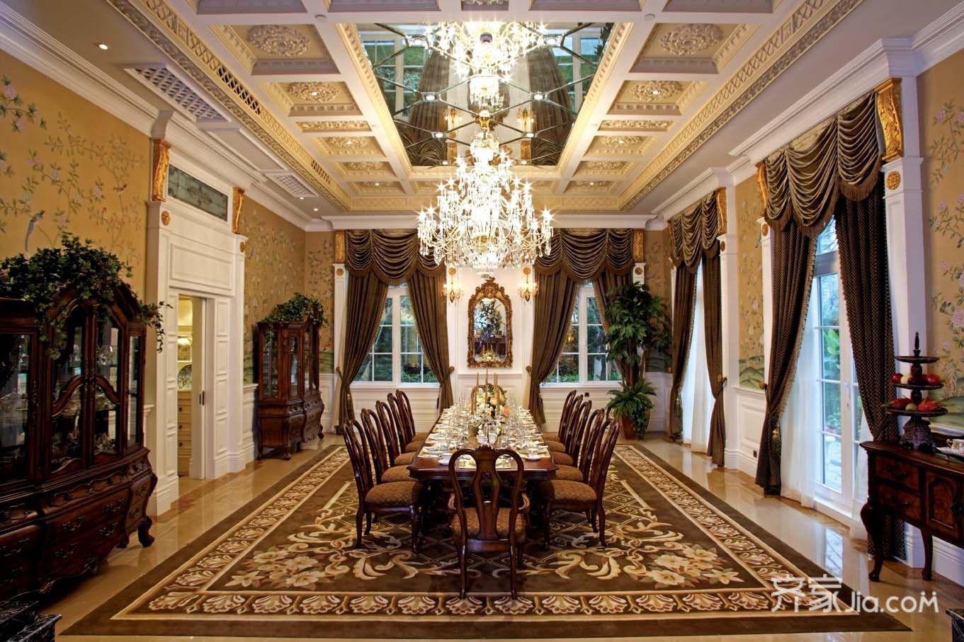 美式豪华别墅装修餐厅装潢图