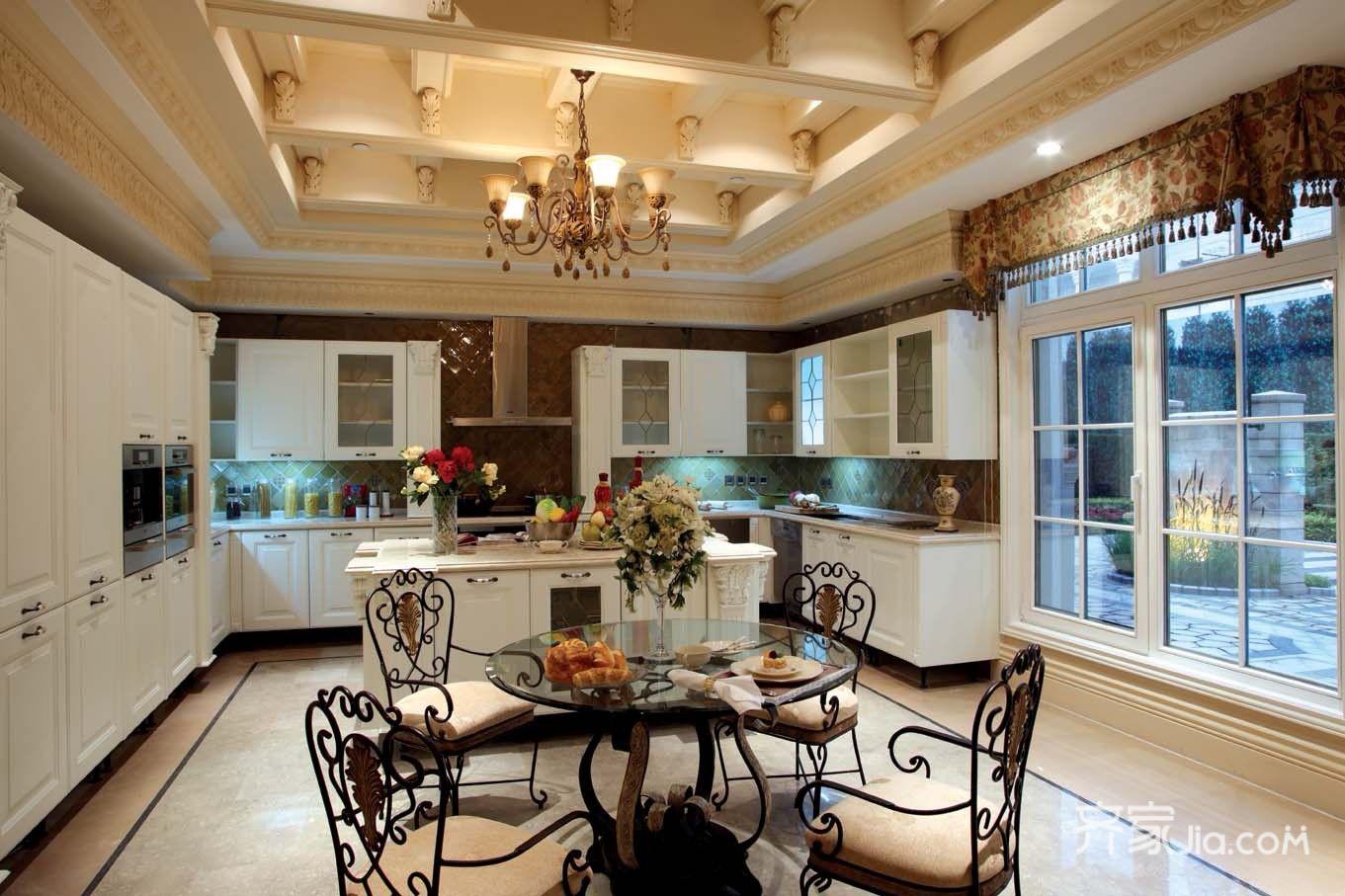 美式豪华别墅装修厨房效果图