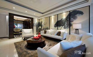 三居室新中式客厅吊顶装修效果图