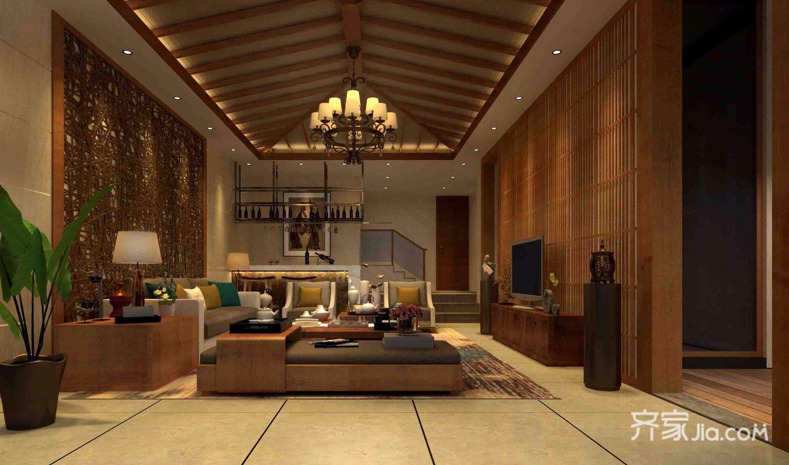 东南亚风格别墅会客厅装修设计效果图