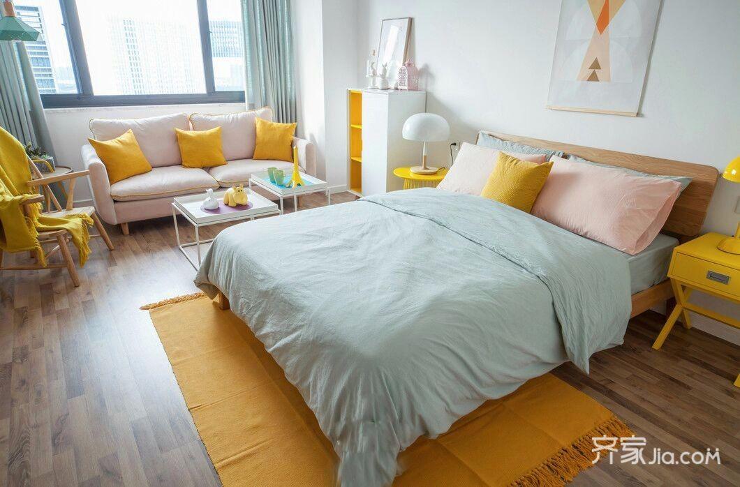 一居室小户型北欧风装修床品搭配图