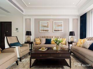 140平美式风格四房装修沙发背景墙设计图