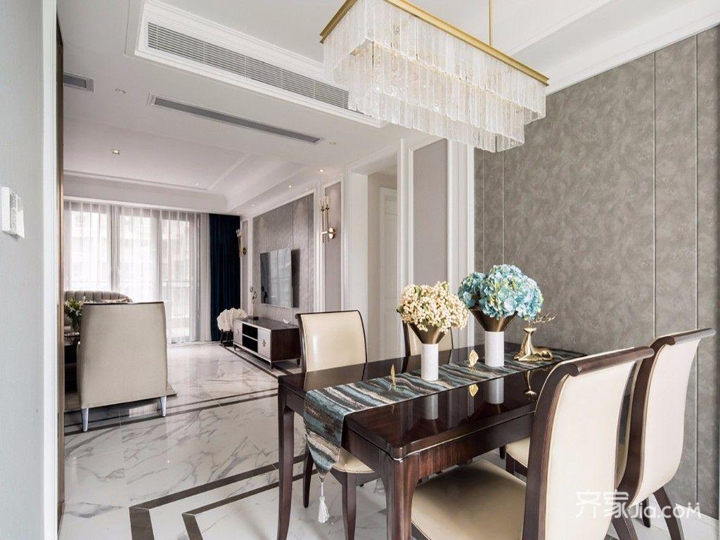 140平美式风格四房装修餐厅背景墙效果图