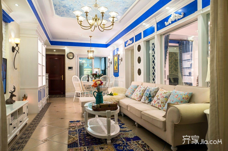 美式风格二居装修客厅效果图