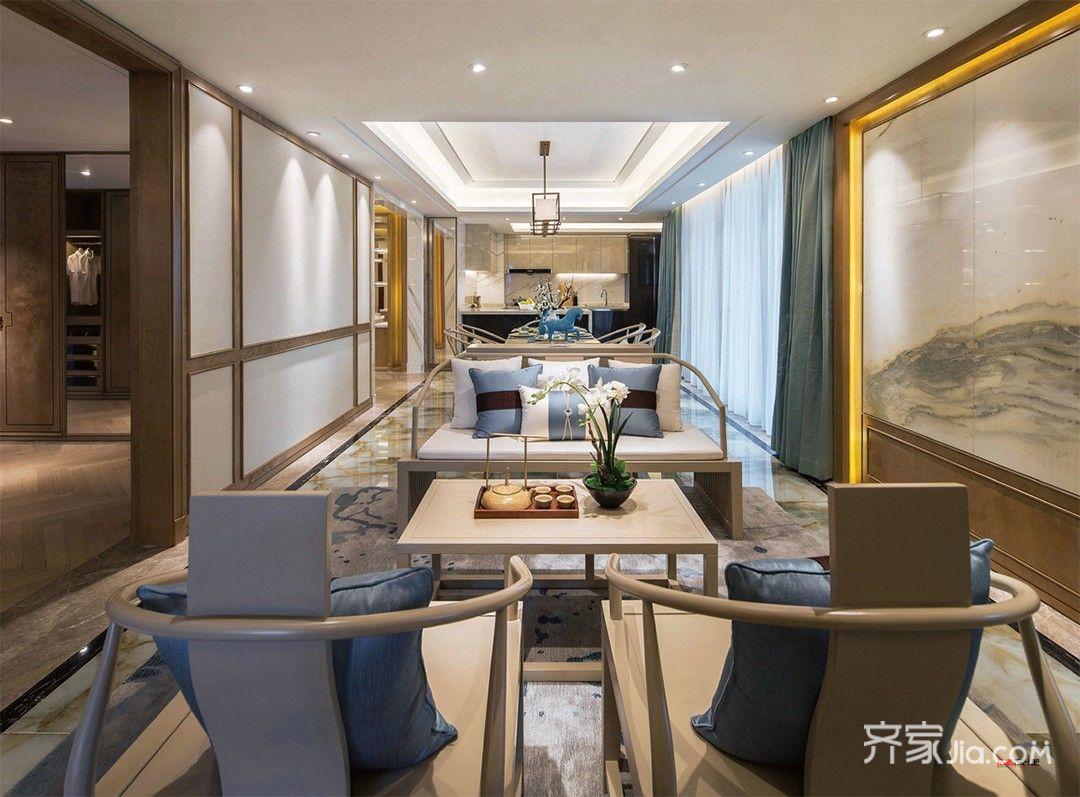 130㎡新中式风格茶餐厅装修效果图