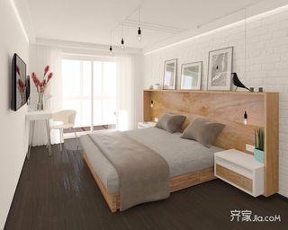 90㎡简约三居装修卧室背景墙设计图