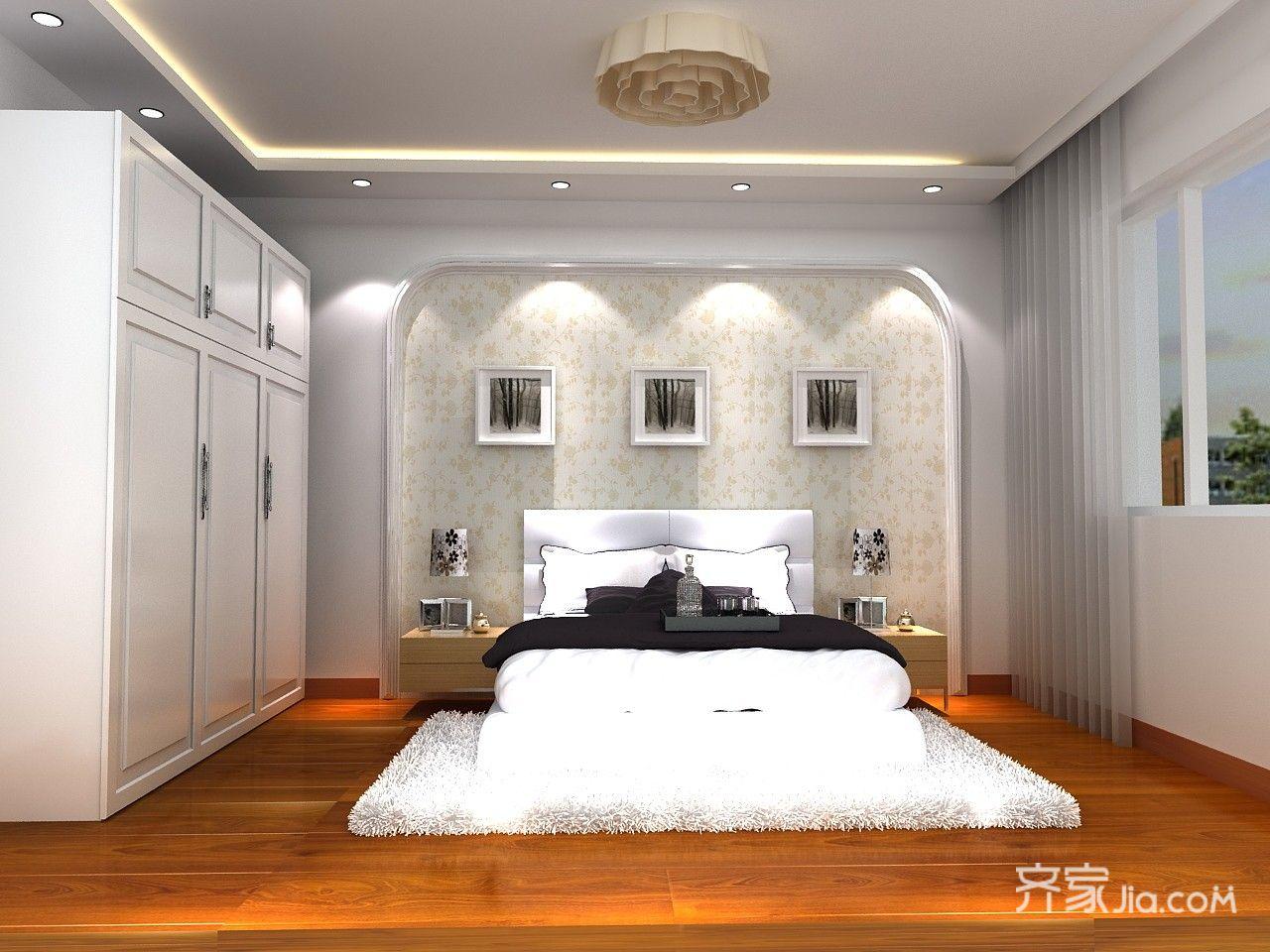 85平现代简约风格卧室装修效果图