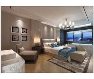 大户型简约风格四房装修卧室背景墙效果图