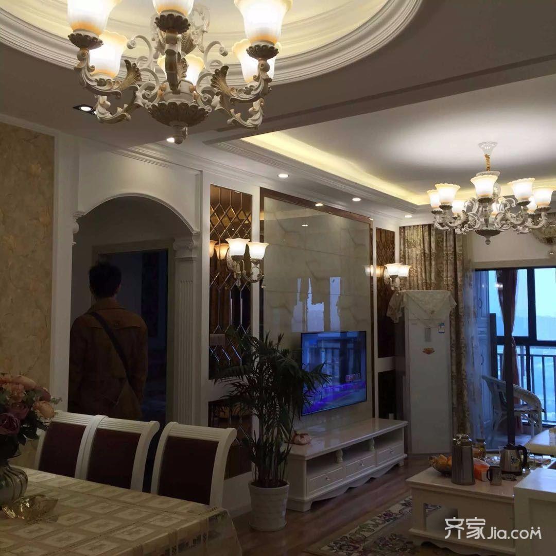88平米欧式二居室装修电视背景墙图片