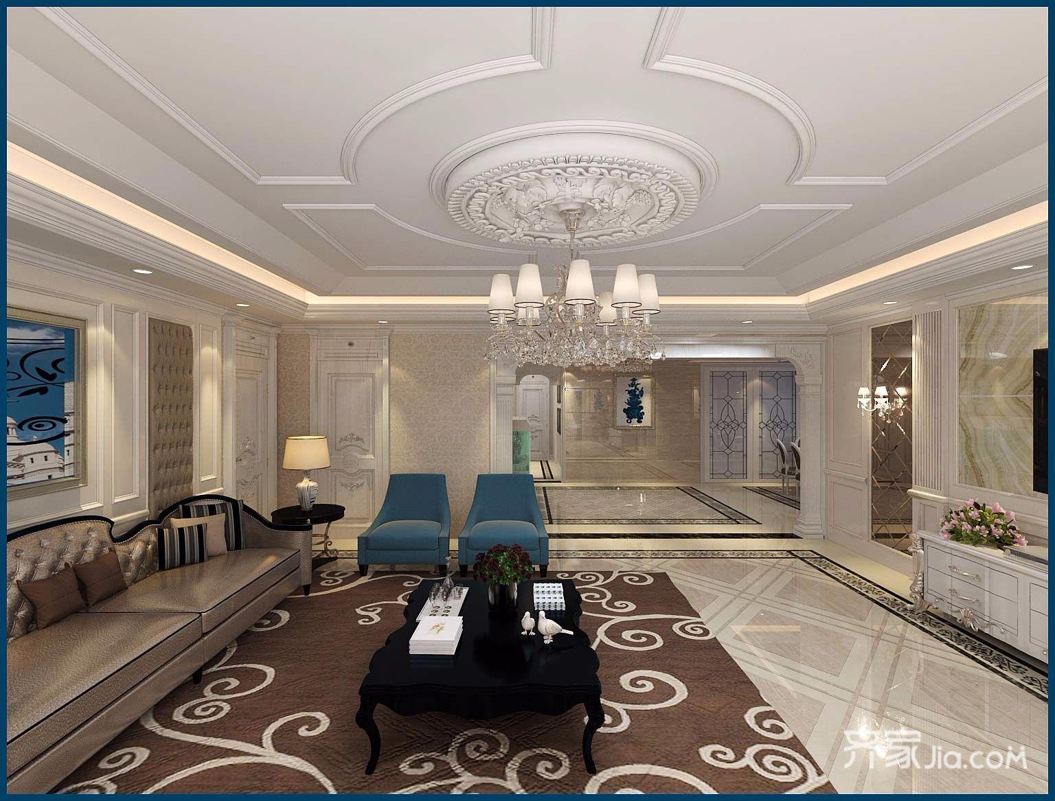 豪华欧式风格四房装修客厅吊顶效果图