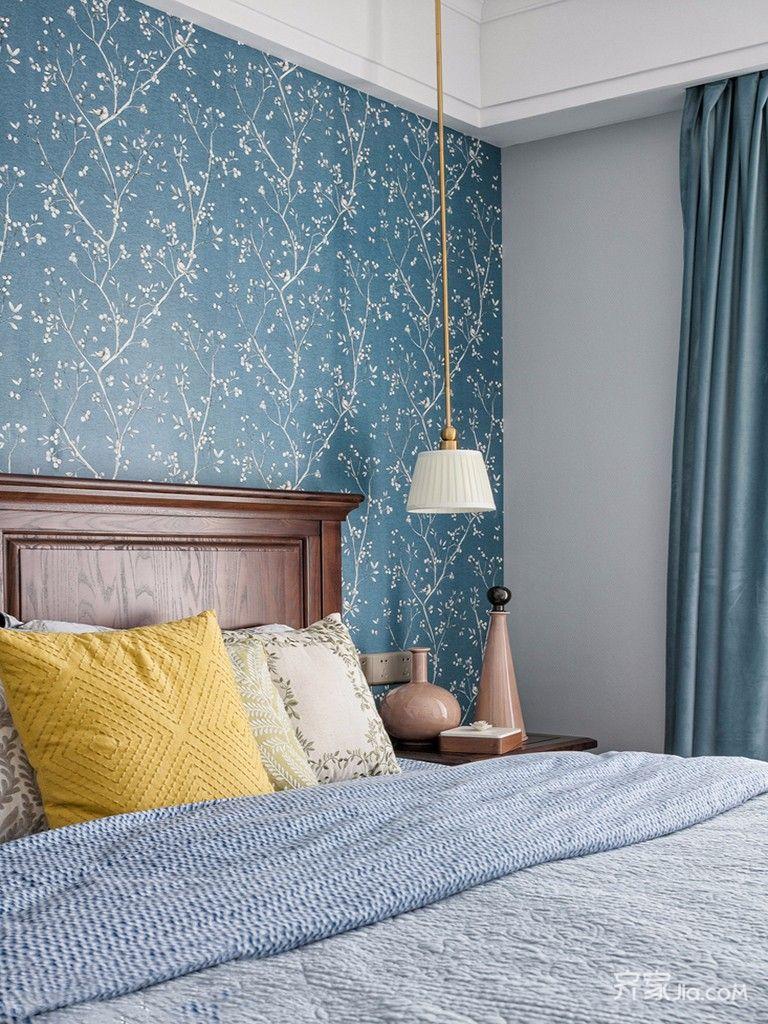 110㎡美式三居设计卧室背景墙图片