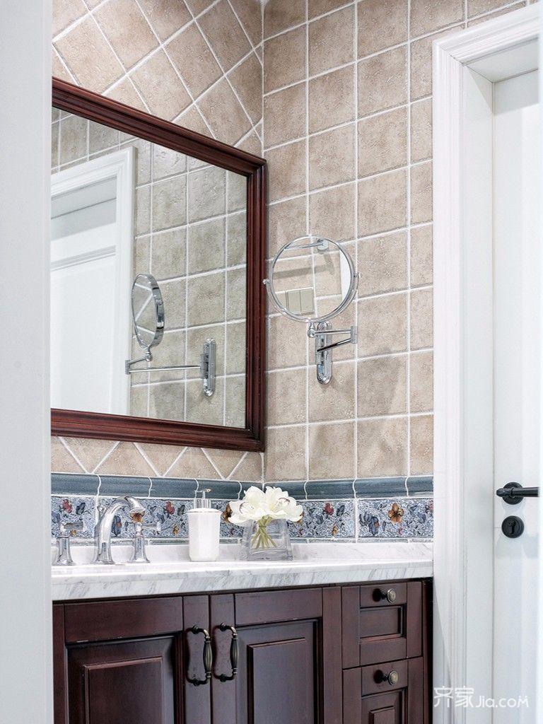 110㎡美式三居设计洗手台图片