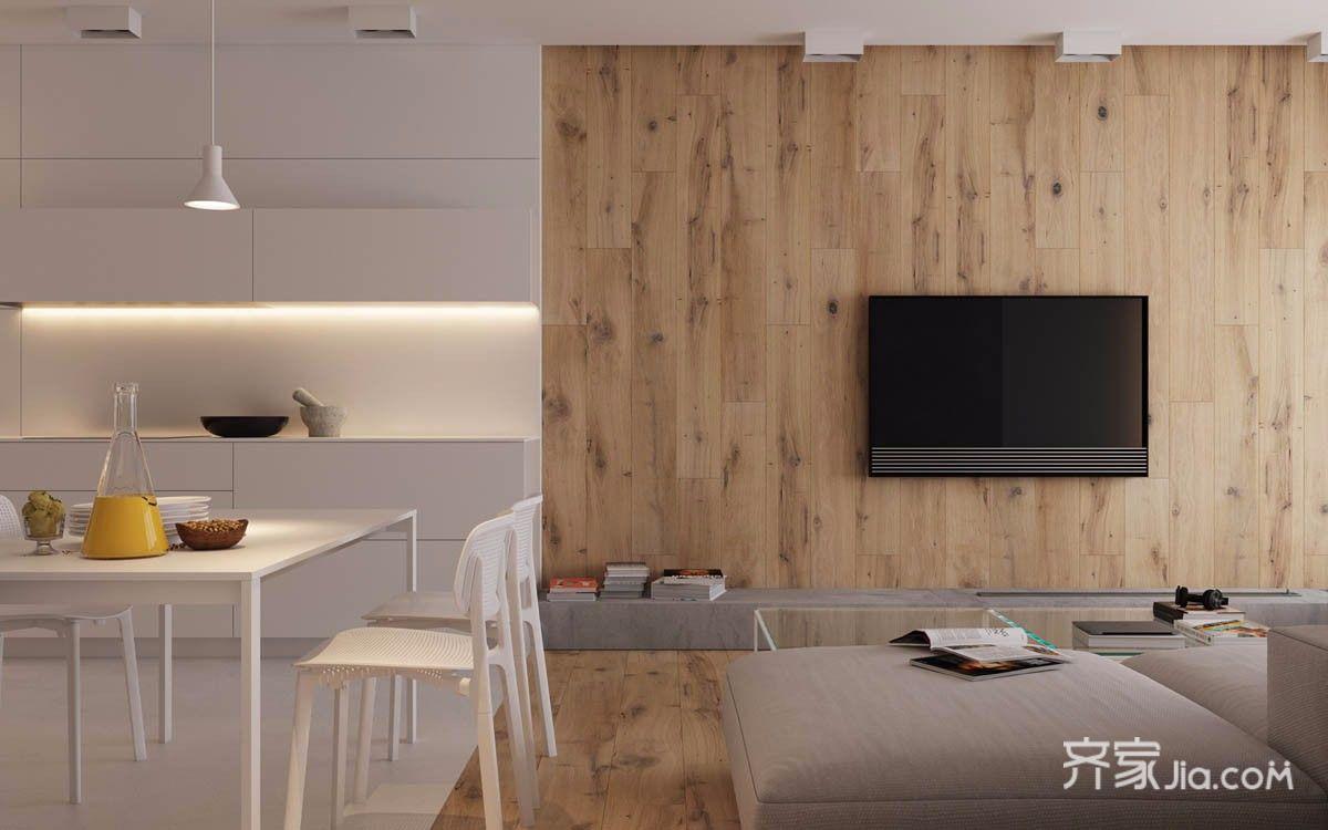 小户型极简风格装修电视背景墙设计效果图