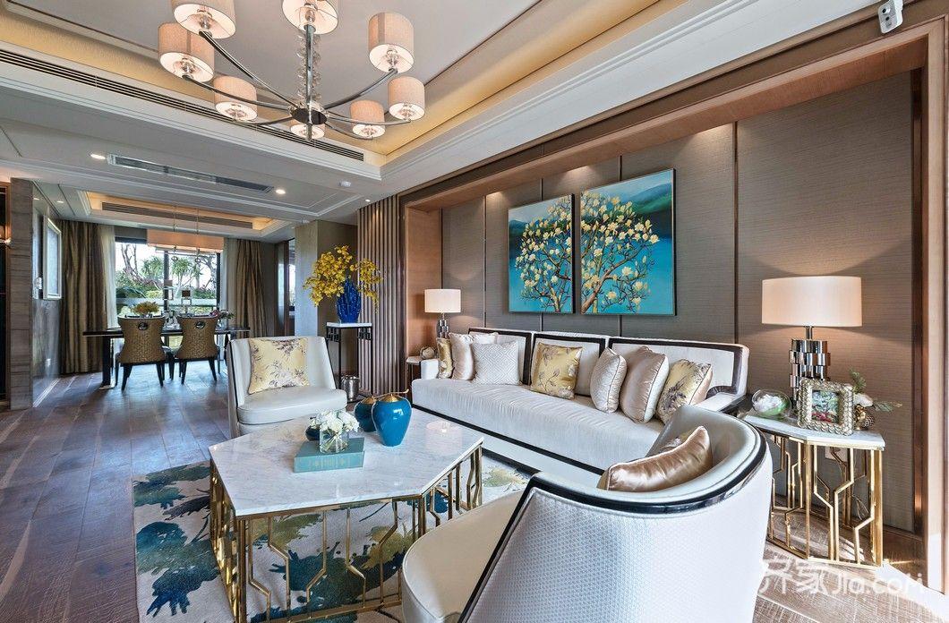 三居室新中式风格装修沙发图片