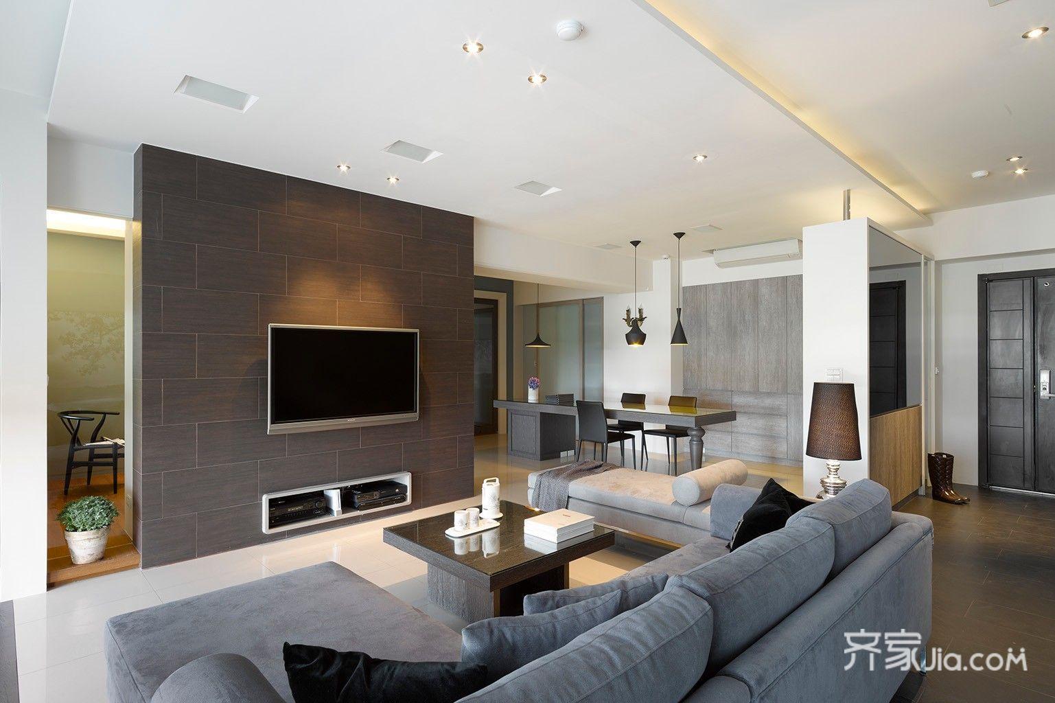 110平现代简约三居装修电视背景墙设计图