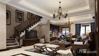 三居室复式混搭客厅装修效果图