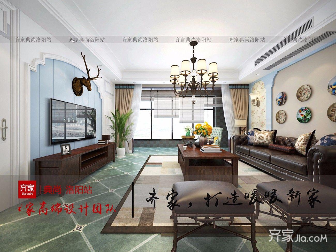 166平美式风格客厅装修效果图