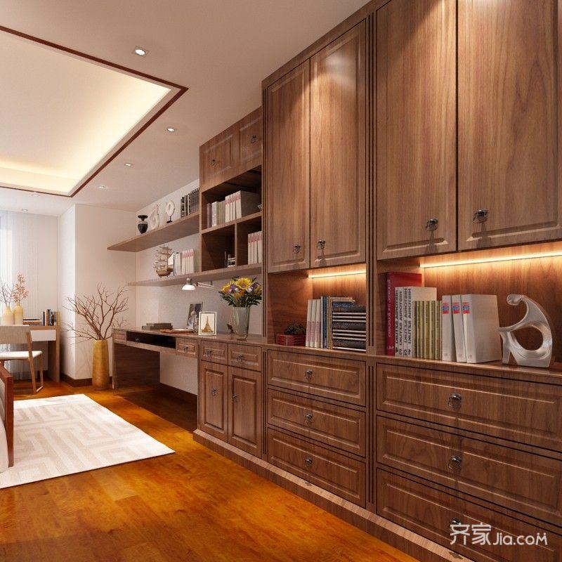 大户型中式别墅装修书柜效果图