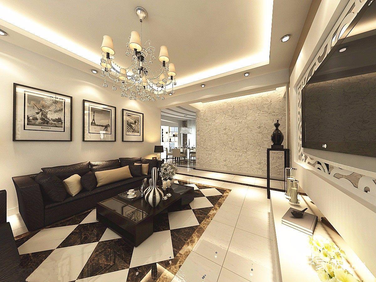 130平现代风格装修沙发背景墙效果图